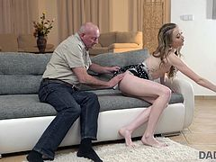 This cunning old man looks at his son's new girlfriend like a cat at a mouse and apparently, he already has a plan in his head how to get her attention... A couple of tender words and compliments, and now he is sitting next to her, rubbing her hard nipples, and fingering her wet pussy. This is just the beginning! Join!