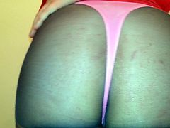 pantyhose and pink thong booty tease