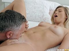 Keiran had just caught his stepdaughter while she was masturbating, but instead of yelling at her, he decided to teach her a lesson. He fingered and licked her tight pussy and then shoved his big and already hard dick deep into her mouth...
