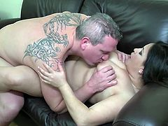 This tattooed guy with a thick cock loves mature ladies, especially fat ones. Andrea looks really stunning with those big saggy tits and attractive round hips, so it was easy for her to seduce him. He licked her plump pussy and then fucked her in reverse cowgirl.