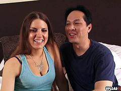 Shoving his pulsating pecker deep in her twat