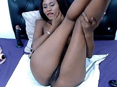 Wild slim little ebony hairy girl to make you cum