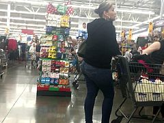 Latina Ass in Jeans at Check Out