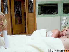 Lusty stepdaughter Khloe Capri doggystyled in knee highs