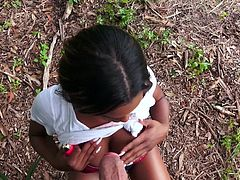 Join and enjoy this outdoor pov sex session with Evi Rei. I was really stunned by this ebony babe and was filming her, until she finally caught me. But could you fucking believe that once she calmed down, she was actually a little turned on by the whole situation and... Hot & exciting outdoor sex session!