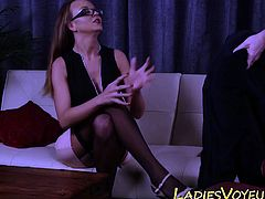Buxom domina mocking guy
