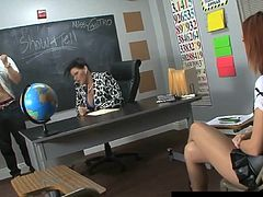 Cuban Teacher Ms. Angelina Castro Gives BJ & Footjob Exam!