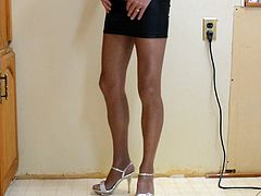 Mini Skirt Coffee Pantyhose and High Heels Again