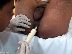 Obviously the kinky doctor must probe for the problem. The horny doctor positions Evo on the medical exam table and begins an anal probing. The kinky twink always ends up naked and sporting a boner, while conducting anal exams. Vahn must resort to bareback fucking this cute young Asian twink. Some hard anal stimulation is always the method he uses to get an ass squirting.