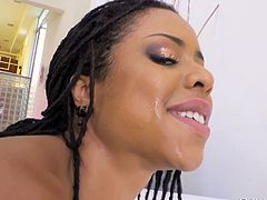 This ebony goddess loves sex and she enjoys getting her body covered with sticky cum. This is the reason Kira Noir is on her knees, trying to suck all cum out of Mick's swollen balls... Have fun and enjoy the spicy bits of scandal!
