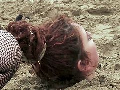 Mistress Kara starts her humiliating punishment on a deserted beach, but this is only the beginning... This fat red-haired woman will be buried in the sand, she will be whipped and humiliated and then taken to a bar, where strangers will fuck her...