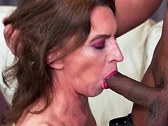 It seems like an eternity has passed since this horny mature tried a real dick and finally she was given a lucky chance. Watch her sucking his big black dick, moaning with pleasure and asking for more. Join and enjoy!