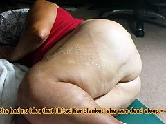 Huge Fat Ass BBW Granny caught naked during sleep! Must See!