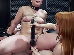 Wow! I see that these three lesbians know how to spend time with maximum benefit. While Kimber is riding a strapon on Chanel's lap moaning loudly, the redhead busty babe Penny Pax, is fingering Kimber's hairy pussy... Hot lesbian threesome & rope bondage