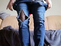 Destroyed jeans with Mary Jane's and pantyhose