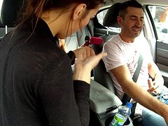 Check out this smoking hot and horny brunette babe giving her friend a nice sloppy blowjob in the car.Watch her pretty face fucked in HD.