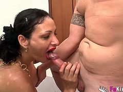 Enjoy horny brunette babe Luciin her first porn video ever . Watch her suck and fuck a hard rod in this HD scene for free