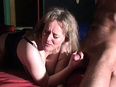 mature lady making fun with two men