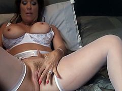 Check out this smoking hot and horny brunette cougar with big tits getting her wet pussy drilled.Watch her sucking and fucking in HD.