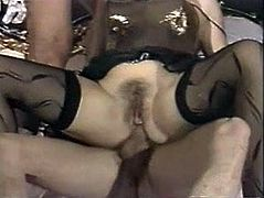 Lucky Vintage Blonde Gets Double Anal Cream