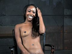 Young ebony sub restrained and punished