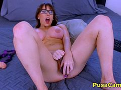 Busty mother with glasses and her new big tits is teasing on live cams and calling guys to come at her home and fuck her! She is having fun and proudly showing her new big tits, she has beautiful curly hair and she is wearing her glasses that made her super sexy and attractive mom!