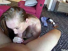 Horny mature woman is spreading her legs wide open for a younger guy and his hard cock HD