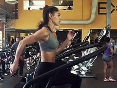 Allison Stokke running on treadmill