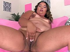 Sexy BBW gets shows off her tits pussy and ass She rubs her pussy Then fucks with a dildo and continues masturbating using a vibrator until she has an orgasm