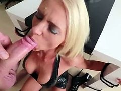 amazing german blonde slut sucks a hard cock