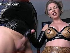 Check out this smoking hot and horny blonde dominant woman giving her male slave a nice handjob.Watch her jerking off his cock in HD.