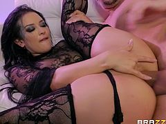 Fantastic brunette with an amazing round booty enjoys being fucked by Keiran Lee. Tattooed babe with big natural tits adores when his hard cock drills her tight ass hole from behind, while she moans in pleasure...