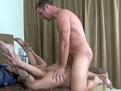 And there she is doing jsut that . Watch this gorgeous brunette babe suck and fuck a ahrd cock at home in High Definition video today