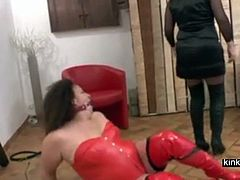 Angelique, femdom female from France. Training a chubby lesbian with my hubby as spectator and assistant. As you can see, I am not of the gentle approach.