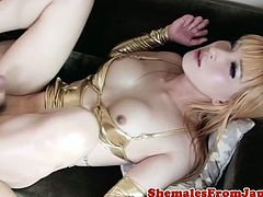 Versatile lingerie ladyboy fucked in ass while jerking her cock