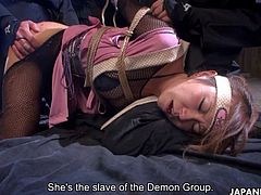 While having a secret task, ninja Sumire Matsu was caught by members of Demon Group, tied up and fucked hard in many positions, until she became their slave and wanted to fuck even more.