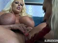 We have two beautiful blonde MILFs with insanely huge tits. What more could you want? Watch as Dolly Fox licks and fucks Alura Jenson with toys until she has a breathtaking orgasm!