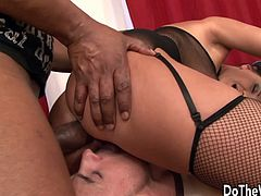 Swinger wife sucks a BBC in front of her hubby Then the black guy fucks her pussy and asshole in many positions and her hubby licks it while she getting fucked She gets her asshole creampied and hubby takes it in mouth