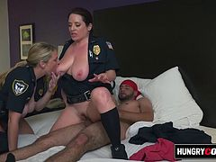 Horny milf officers barge inside suspects place and make him drill their coochies while moaning with extreme pleasure as they reach climax. Visit HungyCops for much more