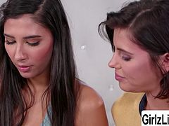 Three gorgeous teens Adriana Chechik, Maya Kendrick and Gianna Dior take an aptitude test that will tell them which job is best for them. Then Maya gets bored until she simply flirting Gianna and licks her tits and wet pussy then these three sluts have some fun.