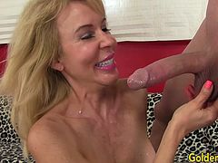 Sexy mature woman sucks a hard cock so good and she rubs her pussy while doing it She gets her pussy licked by the guy Then she gets her pussy fucked in many different positions He spills cum over her chin and tits