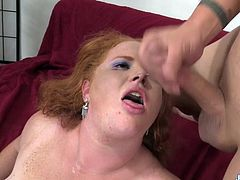 Horny Fat Redhead Scarlett Raven Takes a Hard Cock in Her Mouth and Cunt