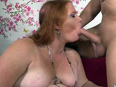 Sexy BBW gets her tits sucked and she gives a nice blowjob to the guy Then she gets her pussy and asshole fucked deep and good in many positions He cums in her mouth