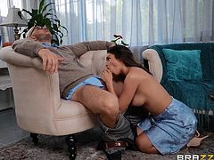 Katana is a hot wife who needs sex. Her husband is not good enough, so she fucks the marriage counsellor. She strips naked and shows off her sexy legs and beautiful perky breasts. His cock is rock hard, and she is going to give him the most amazing blowjob of his life. Watch her get pounded hard.
