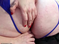 The most horny mommy in the world fucks with one of the most exciting fat girls, they both fuck a black cock and eat each other her juicy pussy, of course they share milk as good slutty friends, these two sluts are delicious.